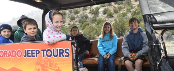 Children and teens enjoying a Jeep tour in Colorado Raft Masters Colorado