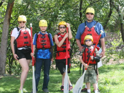 Family of 5 getting ready to raft
