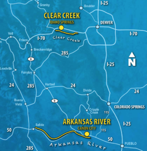 Map of Clear Creek and Arkansas River location and proximiity