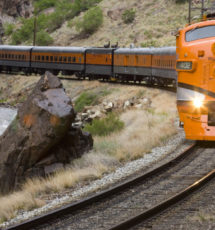 oncoming Royal Gorge train on tracks Raft Masters Colorado tour