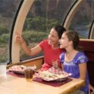 mom and daughter enjoying train ride and lunch Raft Masters Colorado tour