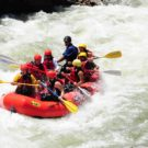 guests on raft going through rapids on Clear Creek Raft Masters Tours Colorado
