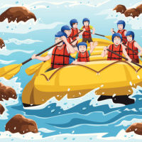 cartoon People rafting